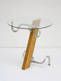 Table made from bike handlebars