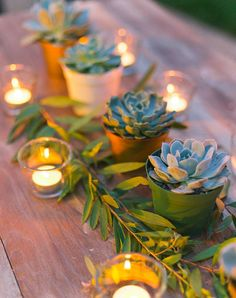 Nice centerpiece idea that doesn't take up much room on the table