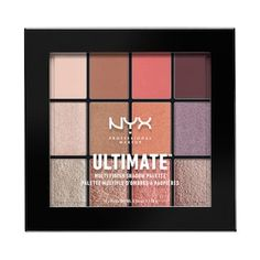 NYX Professional Makeup Ultimate Multi-Finish Shadow Palette - twelve expertly coordinated shades of our creamy-rich eyeshadows. Available in four color combinations, each palette features a vivid selection of finishes. Nyx Eyeshadow Palette, Nyx Palette, Liquid Eyeshadow, Eyeshadow Brushes, Contour Palette, Make Up Looks, Makeup Crew, Professional Makeup Bag, Make Up Kits