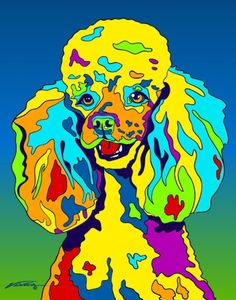 Multi-Color Miniature Poodle Matted Prints & Canvas Giclées. Hand painted and printed in USA by the artist Michael Vistia. Dog Breed: The poodle is a group of formal dog breeds, the Standard Poodle, M