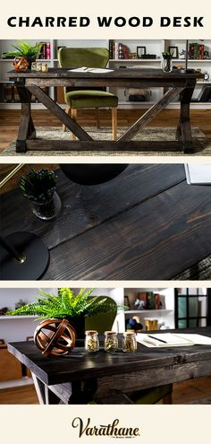 Burned is in! Achieve a rustic charred wood look in minutes with Varathane Charred Wood Accelerator. Elevating your office with a wooden DIY statement desk has never been easier! Diy Furniture Projects, Furniture Makeover, Home Projects, Furniture Design, Farmhouse Furniture, Rustic Furniture, Farmhouse Decor, Charred Wood, My New Room