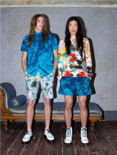 See all the Collection photos from Basso & Brooke Studio Spring/Summer 2015 Menswear now on British Vogue Queer Fashion, High Fashion, Mens Fashion, Fashion Spring, Music Festival Fashion, Festival Style, Surf Wear, Ss 15, Textile Patterns