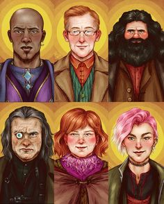 Kingsley, Arthur, Hagrid, Mad-eye Moody, Molly and Tonks