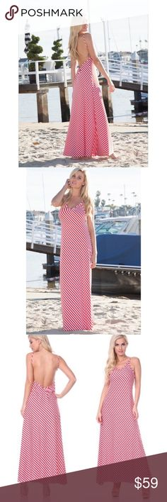 Red & White Stripe Maxi Red and White Maxi Dress Must have maxi dress for the summer  Fabric: 95% Polyester & 5% Spandex Sizes is S/M or M/L Dresses Maxi