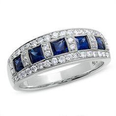princess cut diamond and sapphire anniversary band - Google Search