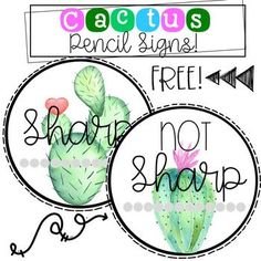 Cactus FREEBIE! Enjoy 2 pencil signs: Sharp and Not Sharp. Use this for pencil buckets. If you like this freebie be sure to rate and check out my huge cactus decor bundle below!! Cactus BUNDLE! https://www.teacherspayteachers.com/Product/Cactus-Classroom-Decor-3188812
