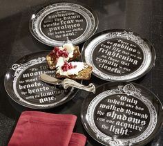 Vampire Salad Plate, Set of 4  - all w/ different quotes