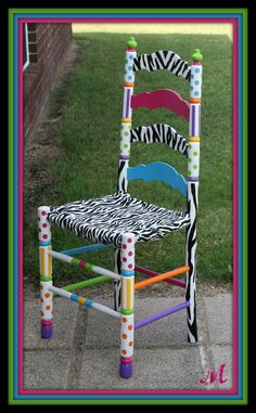 Painted Chairs for Auctions | funky custom hand painted chair black white painted chair with pink ...