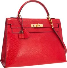 Hermes 32cm Shiny Braise Lizard Sellier Kelly Bag with Gold Hardware