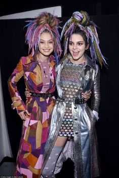 Wigged out: Kendall Jenner and Gigi Hadid looked thrilled with their out-there…