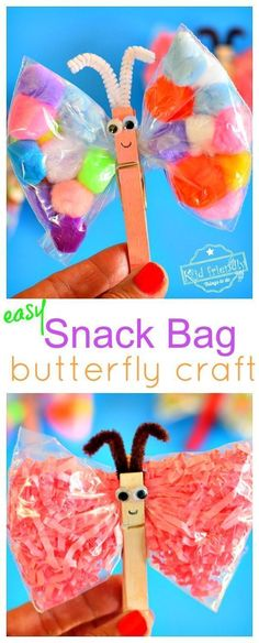 An Easy Butterfly Craft for Kids to Make Using Snack Bags Make this easy butterfly craft with preschooler and kids with simple items from around the house. Perfect DIY butterfly craft for summer and spring - Spring Toddler Crafts, Summer Crafts For Toddlers, Easy Toddler Crafts, Bible Crafts For Kids, Crafts For Kids To Make, Art For Kids, Preschool Summer Crafts, Spring Kids Craft, Spring Crafts For Preschoolers