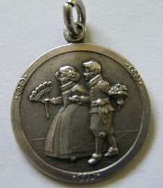 Antique Art Nouveau German Silver Young Lady w/ Suitor Charm ~ Beautiful! #Unbranded