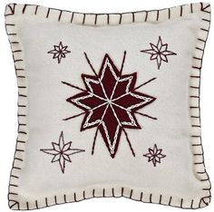 """Create a festive environment in your home this holiday season with our North Star Felt Pillow 10x10""""! https://www.primitivestarquiltshop.com/search?type=product&q=north+star+felt+pillow #MerryChristmas"""