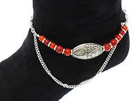 Coral Red Boot Bracelet Filigree Anklet - Sassy and Chic $11.47