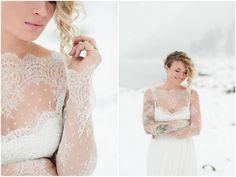 Winter Wedding Dress in Snow / Velvet Bride Wedding Dress Collection shot by Rebecca Hollis
