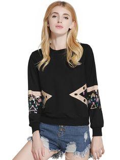 Lztlylzt Women Sequins Stitching Pullover Long Sleeve O-neck Sweatshirt