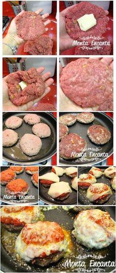 Porpetone Super Prático, de carne moida com recheio de queijo puxa, grelhado no azeite. Com molho de tomate e muzarela que derrete! Feito na boca do fogão!