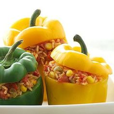 Stuffed Peppers Sweet peppers are the container for this version of Spanish rice. Or, you can serve the rice in a bowl as a side dish for chicken or pork.