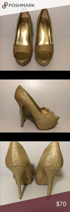Carlos Santana Heels These beautiful gold stilettos are pre-owned.  As seen in photo there the toe area displays sign being worn. Most visible sign of wear is on the bottom being that they have been worn 5-6 times. Carlos Santana Shoes Heels