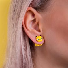 Pikachu Earring Yellow Cat Costume Pokeball Stud Jewelry Nintendo Accessories PokémonGO Video Games Atsuko Nishida Kawaii Anime Style | N103 by catmadecom on Etsy https://www.etsy.com/listing/473609426/pikachu-earring-yellow-cat-costume