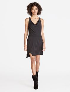 Cowl Drape Jersey Dress With Chain Embellishment