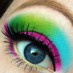 Amazing neon colored makeup! This would be a really fun makeup idea for going out to a club, a concert, or even out on the town.