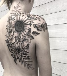 , # # back tattoo back tattoos tattoo # Sunflower Tattoo Sleeve, Sunflower Tattoo Shoulder, Sunflower Tattoos, Flower Sleeve, Back Tattoo Women Upper, Upper Back Tattoos, Cover Up Back Tattoos, Sexy Tattoos, Body Art Tattoos