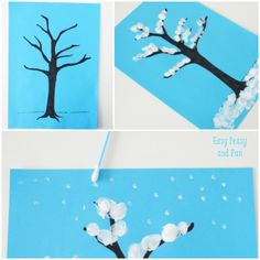 Winter Tree Finger Painting - Quick Art Project for Kids - Easy Peasy and Fun Painting Activities, Art Activities For Kids, Preschool Art, Winter Activities, Winter Art Projects, Winter Crafts For Kids, Projects For Kids, Winter Plants, Winter Trees