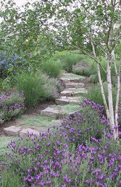 52 Fresh Front Yard and Backyard Landscaping Ideas for 2018 Garden Steps, Garden Paths, Hill Garden, Meadow Garden, Woodland Garden, Landscape Design, Garden Design, Lavender Garden, Lavender Kitchen