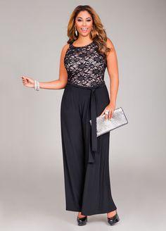 0c47a2a0008 Ashley Stewart Web Exclusive Lace Halter Top Jumpsuit Plus Size Formal  Jumpsuit