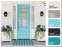 Sherwin Williams Colors on this Entryway.... I have this Tricorn Black on the inside of my front door, and Belize is my bathroom color... no wonder this caught my eye!