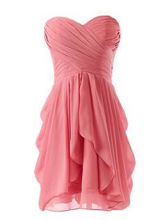 Dressystar Short Strapless chiffon party dress evening dress Coral 6