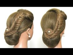 Easy Wedding Updo with Braid. Prom Hairstyles Hair Tutorial - YouTube