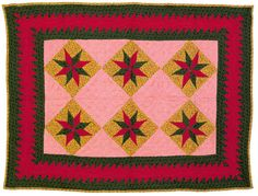 "Pieced eight point star crib quilt, late 19th c., 28"" x 37"", Pook & Pook"