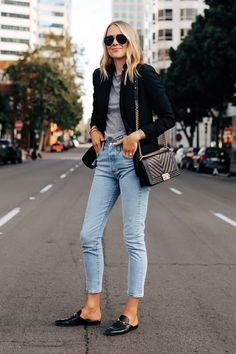 Blazer Outfits Casual, Fall Outfits, Cute Outfits, Fashion Outfits, Womens Fashion, Blazer Fashion, Black Blazer Casual, Black Blazer With Jeans, Grey Blazer Outfit