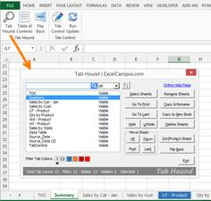 Tab Hound Button and Window for Excel Windows Office, Online Help, Microsoft Office, Page Layout, Worksheets, Ms, Technology, Education, Button