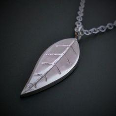 Sterling Silver Leaf Pendant In Sterling Silver by SamaritanJewelers