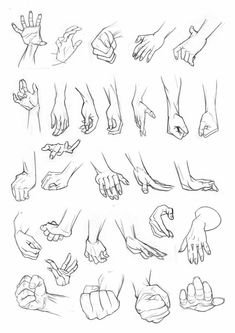 Anatomy Drawing Tutorial Hands can be really tricky. I've got pages and pages of hand studies in my sketchbooks but already had these scanned so they were easier to organise! Hope they help! Hand Drawing Reference, Art Reference Poses, Design Reference, Anatomy Reference, Drawing Poses, Manga Drawing, Drawing Tips, Drawing Hands, Drawing Art