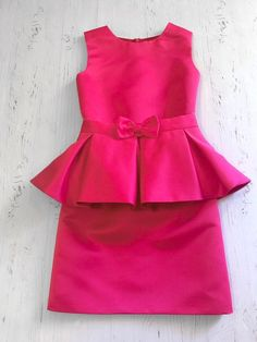 Hot pink pageant interview dress with peplum and belt/ Peplum dress/ Girl Interview outfit/ Pageant wear/ Custom pageant dresses - Pageant Dresses - Ideas of Pageant Dresses Baby Girl Frocks, Frocks For Girls, Dresses Kids Girl, Kids Outfits Girls, Dress Girl, Girl Tutu, Baby Dresses, Bridesmaid Dresses, Girls Frock Design