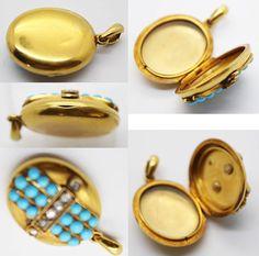 Antique Victorian Pendant Locket 15K Gold Rose by BestOldJewelry