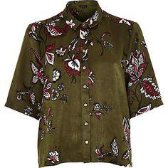 Khaki floral print boxy shirt €40.00
