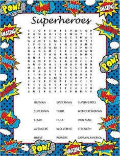 Superheroes Word Search by From Tots to Teens Superhero Party Games, Superhero Classroom, Classroom Themes, Super Hero Activities, Reading Activities, Activities For Kids, Super Hero Day, Super Hero Theme, Animals Name List