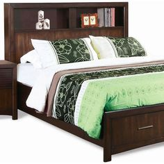Found it at www.dcgstores.com - ♥ ♥ Edison King Storage Bed - Bookcase Headboard, Java Oak ♥ ♥