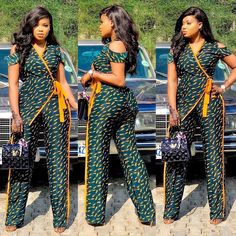 trendy ankara jumpsuit styles for queens Short Ankara Dresses, Ankara Dress Styles, Latest Ankara Styles, Ankara Gowns, Latest African Fashion Dresses, Ankara Fashion, African Print Jumpsuit, Ankara Jumpsuit, African Print Dresses
