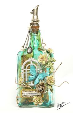 Altered Bottle with Shabby Chic Resin Old church Window
