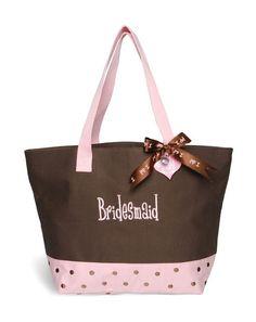 Bridesmaid Tote Bag in Brown and Pink $21.95; bridesmaid gifts; personalized tote bag