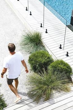 Indigenous plantings and a coastal aesthetic help blur the boundaries between a new garden and its beachside location in this striking home. The collaboration between homeowner and builder of the house and garden, Daryl Powell of Made Build and landscape Landscaping Trees, Coastal Landscaping, Living Pool, Outdoor Living, Indoor Outdoor, Coastal Gardens, Beach Gardens, Landscape Design, Garden Design