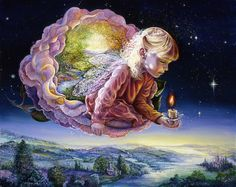 Light of the Rose by Josephine Wall  Floating in a star lit sky, a rose fairy…