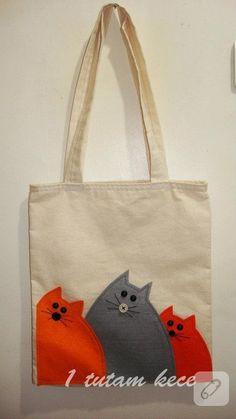 Cloth bag with cat # cloth bag - Tiere & Lebensstil Fabric Crafts, Sewing Crafts, Sewing Projects, Cat Bag, Jute Bags, Patchwork Bags, Denim Bag, Fabric Bags, Kids Bags