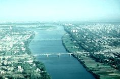 Khartoum, Sudan - view of the Nile. When we lived there in the '80's, you could see an airplane at the bottom of the river. Story was that it missed approach to the airport. Of course the best way to see it was ... on approach to the airport. Kinda freaky!